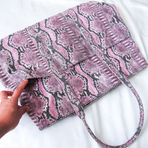 BCBGMaxAzria Bags - BCBG Vegan Leather Snakeskin Print Pink Tote Purse